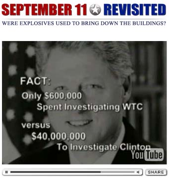 The Republicans spent a gazillion dollars investigating whether Clinton had had sex with his intern, and only 23 cents on what happened to the World Trade Center