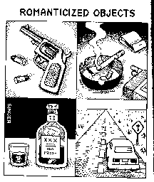 Andy Singer drawing. The gun, the booze, the smokes, the car. Without advertising, who will buy them?