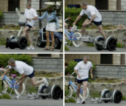 Yeah, that's really George W. Bush, the Commander-in-chief of the world's most powerful armed forces, falling off a Segway.